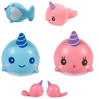 Wholesale Horror Charms - 20pcs Squishy Cute Blue Pink Whale Squishies Soft Slow Rising Toys Kawaii Cartoon Ballchains Decompression Cellphone Staps Charm kids gift