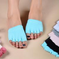 offene zehenmode socken großhandel-Frauen halbe fünf Finger Baumwolle halbe Toe Yoga Socken rutschfeste Peep Toe Anti-Rutsch Pilates Knöchel Griff Durable Open Yoga Socken Mode Sport s