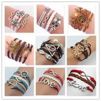 Wholesale Bird Leather Bracelets - Infinity leather Bracelets multilayer charm bangles unisex heart love bird owl tree of life 72 styles multilayer bracelet for men & women