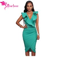 Wholesale Turquoise S Dress - Dear-Lover Women Summer Sleeveless Dress Sexy Solid Turquoise Ruffle V Neck Bodycon Midi Tight Wrap Party Dress Vestidos LC61474 17410