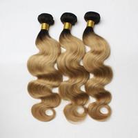 1b 27 koyu kök ombre saç toptan satış-3 adet / grup Brezilyalı Ombre Saç Atkı Iki Ton Koyu Kök 1B / 613 1b / Gri 1b / 27 Sarışın Perulu Vücut Dalga İnsan Saç yumuşak Ucuz Saç Demetleri