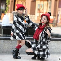 Wholesale European Style Women Suit - Christmas outfits girls plaid fleece hooded single breasted outwear+lattice skirt 2pcs clothing sets women winter warm suits T0506