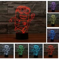 Wholesale Despicable Sleep - Sleeping kid light Despicable Me Minion Boy Christmas Gift 7 Color Chang Night Light Running Minions Touch Toy Lamp home bulb