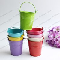 Wholesale Metal Planter Boxes - colorful rose red metal Flowerpots Planter Small Pails pure garden bucket tin box Iron pots FREE SHIPPING MYY