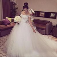 Wholesale Plus Size White Formal Gown - Bridal Dress Wedding Dress Arabic African Gorgeous Sparkly White Lace Ball Gown Plus Size Formal Beading Back Church Puffy 2017