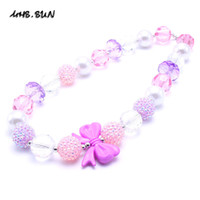Wholesale Resin Bows - MHS.SUN Newest Bow Kid Chunky Necklace Birthday Party Gift For Toddlers Girls Beaded Bubblegum Baby Kids Chunky Necklace Jewelry