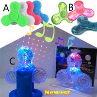 Wholesale In stock Fidget Spinner with Built in LED Bluetooth Speaker Hand Spinner Tri Finger Spinning Top Decompression Finger Toys