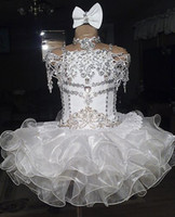 Wholesale Cupcake Pageant Dresses Gold - White lace beaded halter short sleeve bow organza ball gown cupcake toddler little girls pageant dresses flower girls for weddings glitz