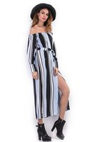 Wholesale 2017 Plus Size Linen Women Big Striped Long Split Dress Summer Casual Beach Dress Long Sleeve Party Dress