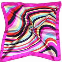 Wholesale Satin Stripe Scarves - Wholesale- Fashion Hot Satin Silk Square Scarf Women Rainbow Stripe For Lady Cuello Bufandas Seda Scarves #ED