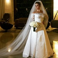 Wholesale organza ruffled dress china resale online - Off shoulder long sleeves A line modest Ivory Satin wedding dresses from china gowns y Lace bridal gowns wedding dresses with train