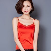 Wholesale V Neck Camisoles - Summer Tank Top Women Sexy Sleeveless V Neck Silk Basic Tops Blusas Casual Plus Size Vest Camisole Crop Tops Women 2016 A289
