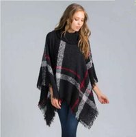 11th, Nov Plus Size Frauen Wolle Plaid Strickjacke Turtleneck Kap Batwing Ärmel Strick Poncho Pullover Weibliche Quaste Schal