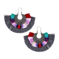 Wholesale Earring Big For Party - Vintage Long Tassel Drop Earring Resin Bohe Punk Ethnic Fashion Multicolor Cotton Thread Big Fan Shape Fringe Earrings For Wome Wholesale