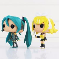 Wholesale Miku Hatsune Figurine - 10 cm Funko Pop Hatsune Miku Kagamine Rin   Flax Model PVC Figurine Collection Toy for Children Gifts come with Retail Box