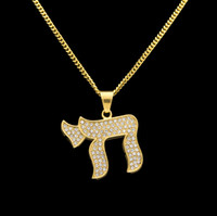 Wholesale Charm Jewish - Hip Hop Stainless Steel CHAI Jewish Symbols Hot Exaggerated Pendants Necklaces Luxury Gold Plated Chain Jewelry Women Accessories Necklace