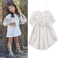 robe de dentelle blanche achat en gros de-2017 Toddler Kids Baby Girls Off Shoulder Clothing Robe blanche en dentelle Princess Party Pageant Robes Tutu de vacances