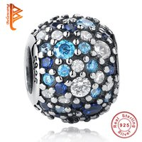 Wholesale Round Mosaic - BELAWANG 100% Real 925 Sterling Silver Ocean Mosaic Charm Beads Big Hole Beads Fit Pandora Charm Bracelets&Bangles Authentic Jewelry Gift