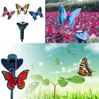 Wholesale Mini Butterfly Decorations - Mini Garden Fairies Decorations Ornaments Simulation Spinning Flying Butterfly With Solar Energy Blue Red Yellow Color For Indoor Outdoor