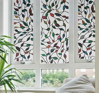 Wholesale Decorative Window Films Stained Glass - 45x100cm PVC 2016 New Colorful Leaf Static Cling Decorative Stained Glass Window Film Privacy Films Textured 45x100cm