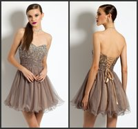 Brown Homecoming Partykleid Sequin wenig Prom Dress Günstige Preis Lace Up Back Sweetheart Neck Sleeveless Nach Maß Mini Tulle