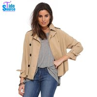 Vente en gros - 2017 Classic British Style Spring Autumn Khaki Loose A-Line Trench Double Breasted Full Sleeve décontracté Short Women Trench Coat