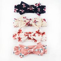 Wholesale Cotton Fabric Baby Headbands - 8 Pcs lot Baby Fabric Headband With Vantage Hair Bow Cute Cotton Headdress Pretty Infant Headbands Turban Knot