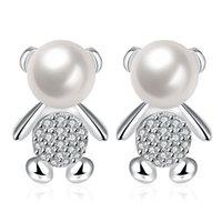 Wholesale Min Order Pcs - Pearl Earrings Cute Mini Bear Stud Silver Plated 1.7X1.1CM E732 Min Order 50 Pcs for Woman Girls Kids