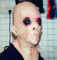 Реалистичный UFO Alien Head Латексная маска Cosplay Creepy Saucer Man Full Face Halloween Party Mask Ужас Ghost Costume Mask