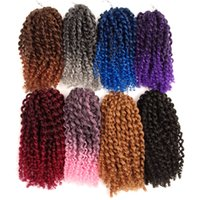 Wholesale Curly Hair Curl - 3 pcs set 10inch Marlybob Crochet twist braid hair synthetic braiding hair Jerry curl Crochet Hair Extensions more color 90g