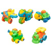 Wholesale Educational Train Toys - DIY Children's Toys Assembled Jigsaw Car Plane Develop Fun Building Train Kids Educational Toy With Clamp Screwdriver Tool