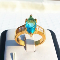 Wholesale Sapphire Rings China - 100% top quality jewelry wedding engagement rings lady charm sapphire finger ring fashion women 14kt gold plated rhinestone crystal cz rings