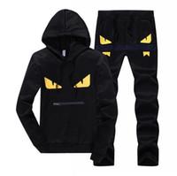 erkekler patchwork takım elbise toptan satış-Şeytan gözler erkek eşofman patchwork spor hoodies + pantolon setleri mens hoodies ve tişörtü dış giyim ücretsiz nakliye suits