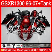 Wholesale Hayabusa Black Gloss Fairing - 8Gifts 23Colors For SUZUKI Hayabusa GSXR1300 96 97 98 99 00 01 15HM7 GSXR 1300 GSX R1300 gloss red black GSXR-1300 02 03 04 05 06 07 Fairing