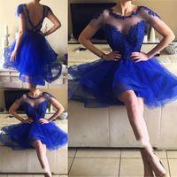 Wholesale mini silver scoop for sale - Group buy Lovely Short Sleeve Graduation Dresses Appliques Beaded Tulle Mini Short Royal Blue Homecoming Party Dresses Vestidos De Fiesta