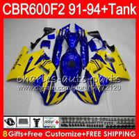 carenado azul amarillo al por mayor-brillo azul 8 Regalos 23 colores para HONDA CBR600F2 91 92 93 94 CBR600RR FS 1HM26 CBR 600F2 600 F2 CBR600 F2 1991 1992 1993 1994 amarillo Fairing