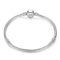 Wholesale pandora bracelets online - 1pcs Drop Shipping Silver Plated Bracelets with LOGO Women Snake Chain Luxury Brand Charm Beads for pandora Bangle Bracelet Children Gift