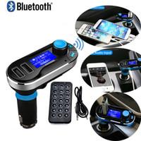 kits de coche móvil al por mayor-1pc Coche FM BT66 Transmisor Bluetooth Manos libres LCD Reproductor de MP3 Kit adaptador de radio Cargador Teléfono móvil inteligente con paquete al por menor