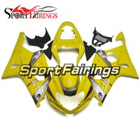 Wholesale Suzuki K1 Yellow - Complete Fairings For Suzuki GSXR1000 K1 K2 00 01 02 Injection Yellow Silver ABS Plastic Motorcycle Fairing Kit Bodywork Motorbike Cowlings