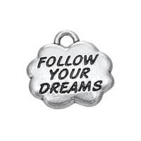 "Wholesale Dream Bracelets - 3 Style Alloy Silver Dangle Lettering ""Fllow Your Dreams""Charms Jewelry DIY Findings Fit Bracelet Necklace 50PCS"