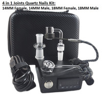 Wholesale E 14 - Banger E Quartz Nail Electric Dab Nail Box Kit Quartz Nail Carb Cap 14 18 MM Male Temperature Controller Rig glass Bongs