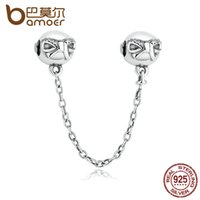 Wholesale Diy Charms - Wholesale- BAMOER 925 Sterling Silver Dainty Bow, Clear CZ Stopper Charms fit DIY Bracelets Safety Chain Women Jewelry PAS328