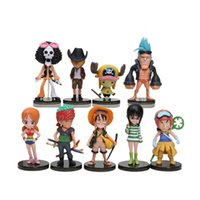 chapeau zoro achat en gros de-9pcs / set Anime One Piece Mini Figurines d'action Les chapeaux de paille Luffy Roronoa Zoro Sanji Chopper Figure Jouets