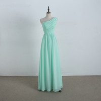 Wholesale Coal Lights - One Shoulder Long Chiffon Bridesmaid Dress Mint Coal Coral New Beach Wedding Party Dress 100% Real Photo