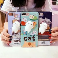 Wholesale 2017 Funny D Cartoon Kitty Cat Phones Cases Silicone Squeeze Stress Relieve Squishy Soft TPU For iphone s plus Cradle