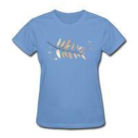 schöne tops für mädchen großhandel-Schöne Frauen T-Shirts Blatt gedruckt frischen Stil hellblau Mädchen Sommer kurzen Ärmeln Baumwolle Tops angepasst Mädchen T-Shirt.