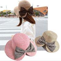 Wholesale Womens Foldable Sun Hats - Womens Floppy Summer Sun Beach Straw Bucket Hat Fedora Foldable Church Wide Brim Hat 56-58cm