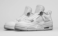 Wholesale Mens Pure White Shoes - cheap new men basketball shoes air retro 4 Pure Money mens 4s sports running sneakers free drop shipping discount price with box
