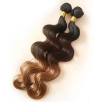 Wholesale Malaysian Curly Colored Weave - Ombre Brazilian Hair Body Wave T1b 4 27 Colored Human Hair Weave Bundles Brazillian Hair Extension Straight Afro Kinky Curly