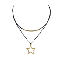 Wholesale Double Star Necklace - Trendy Jewelry Double layers Wrapped Leather Chains Choker and Large Gold Star Pendant Necklaces with Black-Gold Chains for Women